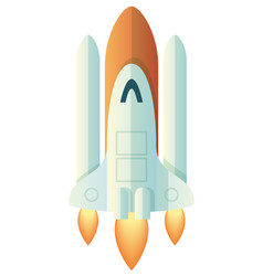 Launching rocket on white vector