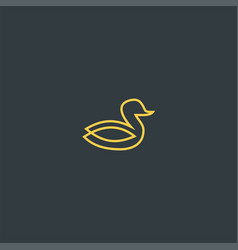 line art duck symbol design vector image