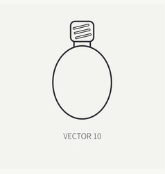 Line flat military icon - flask army vector