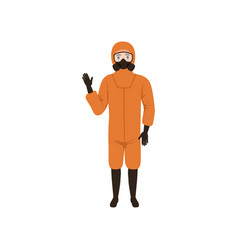 Man in orange protective costume standing and vector