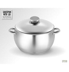 Metal saucepan with closed lid realistic vector
