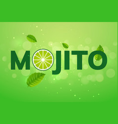 mojito drink cocktail splash lemon juice vector image