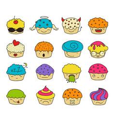 Muffin emoji set vector