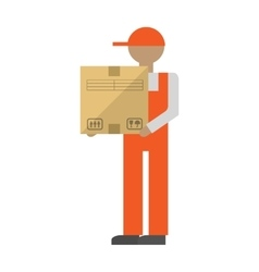 New delivery man with box vector image