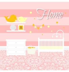 Nursery room with furniture Baby interior vector image