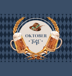 Oktoberfest frame design with beer tyrolean hat vector
