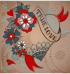 Old-school style tattoo heart with flowers vector image