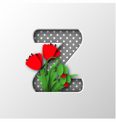 Paper cut letter z with poppy flowers vector