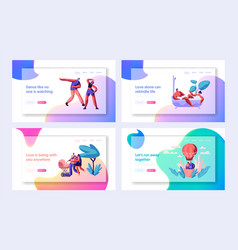 people spending time together landing page vector image
