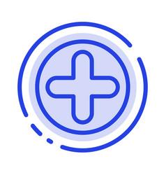plus sign hospital medical blue dotted line line vector image