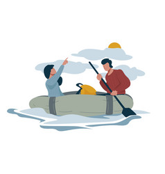 Rafting or hiking and backpacking couple in boat vector