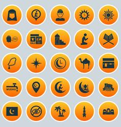 Ramadan icons set collection of mullah tree dua vector