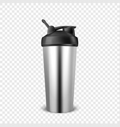 realistic 3d empty glossy metal shaker for vector image