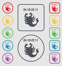 Scorpio icon sign symbol on the Round and square vector image vector image