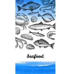 Seafood menu design template vector