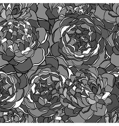 seamless background with black and white flowers vector image