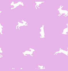 seamless pattern with white rabbits on a lavender vector image