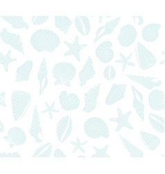 Seashells seamless background blue on white vector