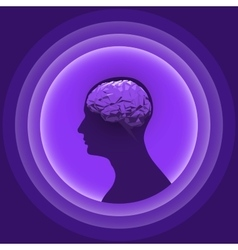 Silhouette of the human head with glowing brain vector image