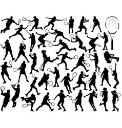 silhouettes of tennis players vector image