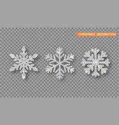 silver christmas decoration set silver glitter vector image