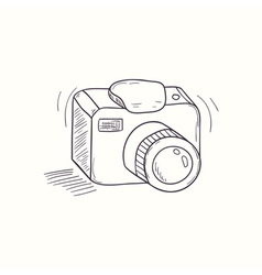 Sketched digital camera desktop icon vector