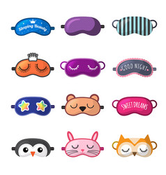 sleeping mask rest clothes for girl face closed vector image