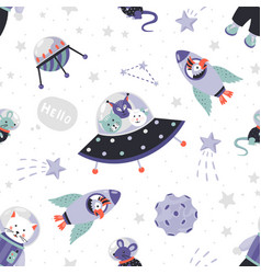 Space animals pattern cute cartoon baby vector
