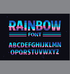 stylized colorful font rainbow vector image