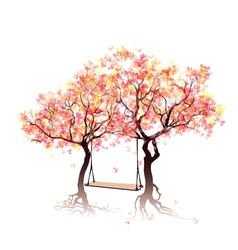 Swing between the trees vector image