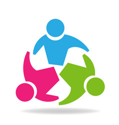 Teamwork circle group logo planning concept vector