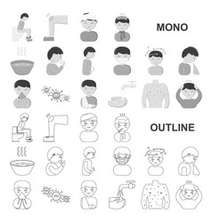 The sick man monochrom icons in set collection for vector