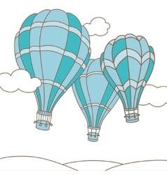 three hot air balloons vector image