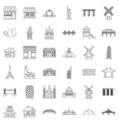 tourist attraction icons set outline style vector image