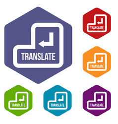 Translate button icons set vector