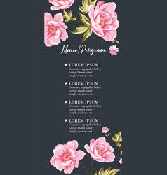 wedding invitation with pink peony flowers on gray vector image