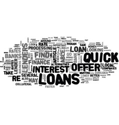 Where to look for quick loans text word cloud vector