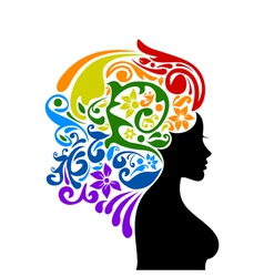 Woman a rainbow vector image vector image