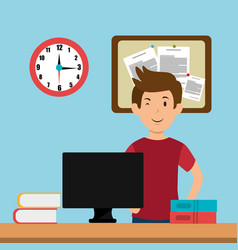 Young man in the workplace office vector
