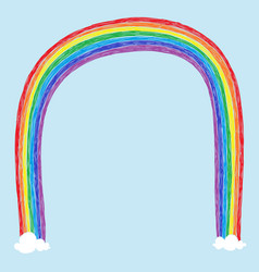 childish rainbow drawing vector image vector image