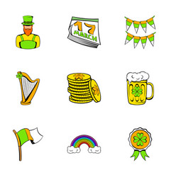 ireland day icons set cartoon style vector image