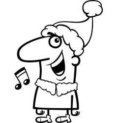 santa singing carol coloring page vector image