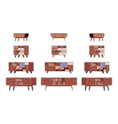 Set of standing bookshelves credenza vector image vector image