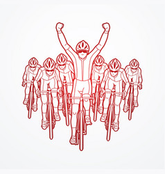 the winner with group of biking sport men team vector image vector image
