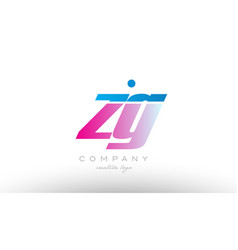 zg z g alphabet letter combination pink blue bold vector image vector image