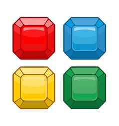 Cartoon jewelry Set colored gemstones vector image