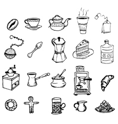 Hand-drawn outlines on coffee and tea cup Cafe or vector image