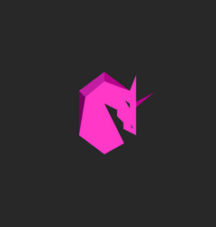 head unicorn logo pink silhouette horse with horn vector image