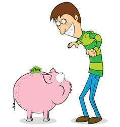 Man with piggybank vector image vector image