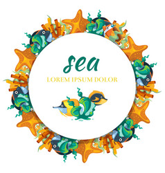 sealife round banner design - banner with cartoon vector image vector image